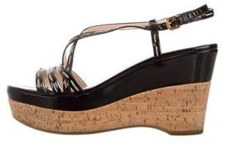 Prada Patent Leather Wedge Sandals Black Patent Leather Wedge Sandals