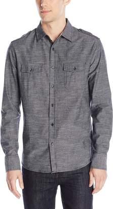 Sovereign Code Men's Brando - Textured Military Shirt with Epaulettes
