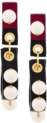 Marni pearl leather earrings