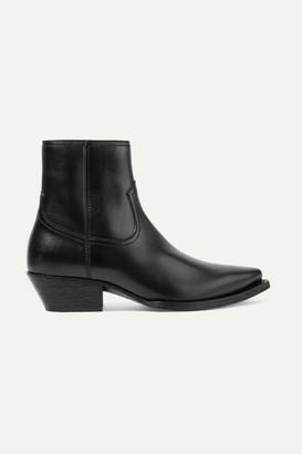 Saint Laurent Lukas Leather Ankle Boots - Black