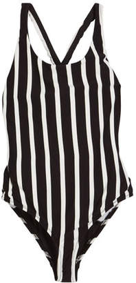 Milly Minis Striped Scoop-Neck One-Piece Swimsuit, Size 7-16
