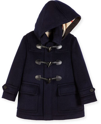 Burberry Burwood Hooded Wool Toggle Coat, Dark Indigo, Size 4-14 $525 thestylecure.com