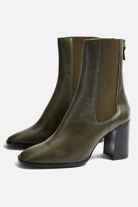 Topshop HUNT Leather Ankle Boots