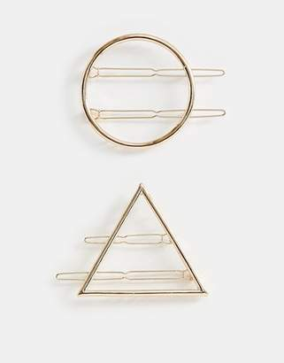 Asos Design DESIGN pack of 2 barette hair clips in circle and triangle in gold