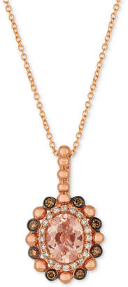LeVian Le Vian Peach & Nude Peach Morganite (7/8 ct. t.w.) & Diamond (1/4 ct. t.w.) Pendant Necklace in 14k Rose Gold