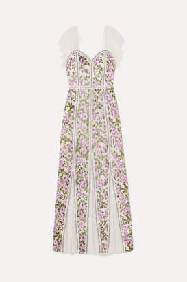 Alice + Olivia Alice Olivia - Devina Lace-paneled Embroidered Tulle Maxi Dress - White