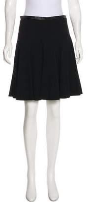 Jason Wu Leather-Trimmed Knee-Length Skirt