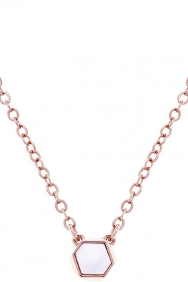 Karen Millen Jewellery Ladies Rose Gold Plated Polyhedra Stone Pendant KMJ1021-24-46