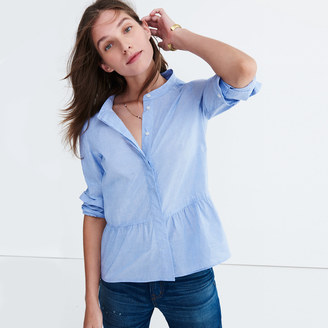 Lakeside Peplum Shirt in Waterfall Blue $72 thestylecure.com