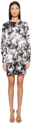 Sonia Rykiel Palm Print Long Sleeve Dress Women's Dress