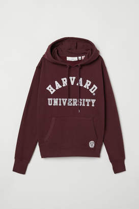H&M Printed Hooded Sweatshirt - Red