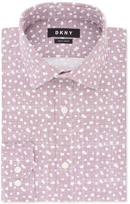 DKNY Men's Slim-Fit Performance Stretch Wrinkle-Resistant Burgundy Print Dress Shirt
