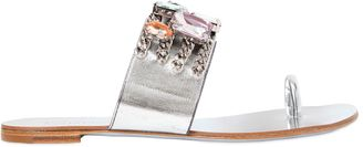 10mm Swarovski & Chain Leather Sandals $725 thestylecure.com