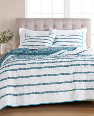 Martha Stewart Collection Closeout! Collection Frayed Floral 100% Cotton Twin Quilt, Created for Macy's