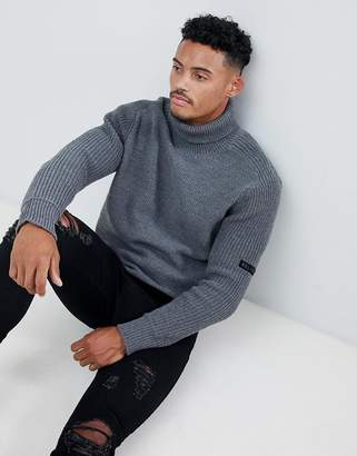 Religion chunky funnel neck sweater in gray