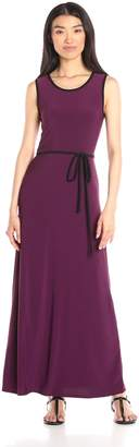 Star Vixen Women's Sleeveless Round Neck Maxi Dress with Piping and Self-Tie Belt, Red/Black