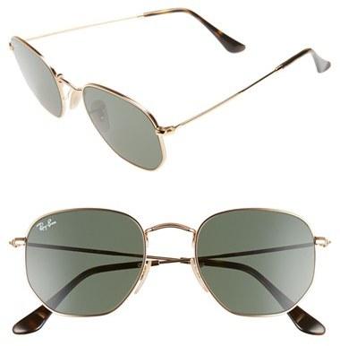 Women's Ray-Ban 51Mm Hexagonal Flat Lens Sunglasses - Metal Gold/ Green