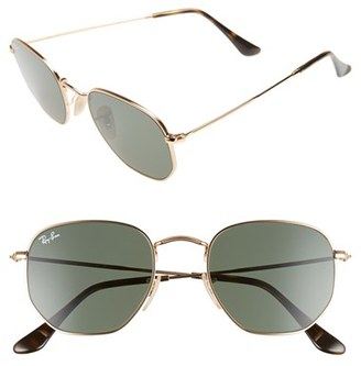 Women's Ray-Ban 51Mm Hexagonal Flat Lens Sunglasses - Metal Gold/ Green $150 thestylecure.com