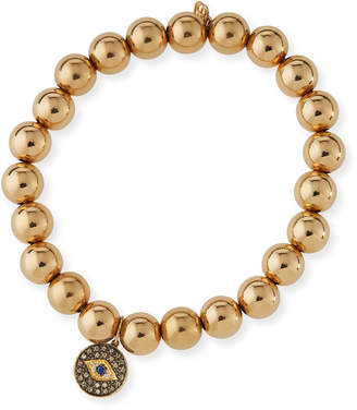 Sydney Evan 8mm Golden Beaded Bracelet with Diamond Eye Medallion Charm
