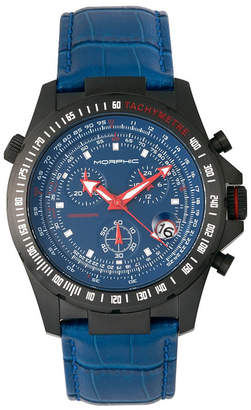 Morphic M36 Series Leather-Band Chronograph Watch - Black/Blue
