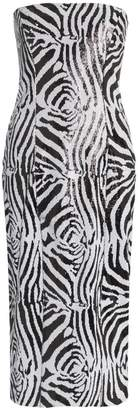 Halpern zebra print sequin embellished midi dress
