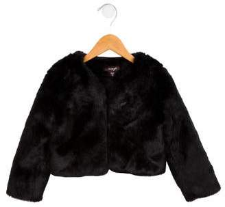 Imoga Girls' Faux Fur Collarless Jacket