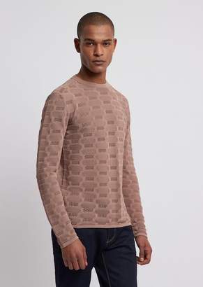 Emporio Armani Sweater In A Blend Of Shaved Cotton With Punching