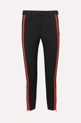 Alexander McQueen Satin-trimmed Wool-blend Skinny Pants - Black