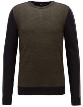 BOSS Hugo Color-block sweater in extra-fine Italian merino wool M Open Green