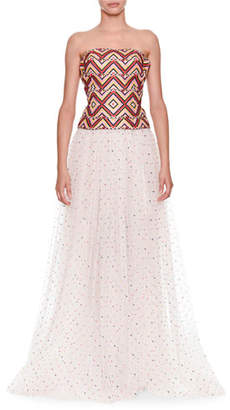 Ermanno Scervino Strapless Woven Top With Tulle Dotted Skirt Evening Gown