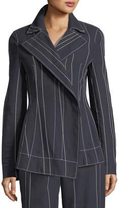 Cédric Charlier Stripe Asymmetric Blazer Jacket