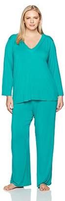 Arabella Women's Plus Size Long Sleeve Pleated V-Neck Jersey Pajamas