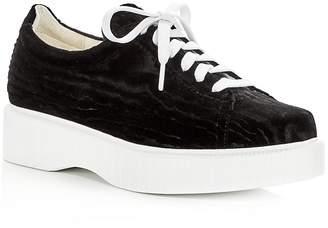 Robert Clergerie Women's Paskettn Embossed Velvet Lace Up Platform Sneakers