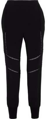 Stella McCartney Open Knit-Trimmed Crepe Track Pants