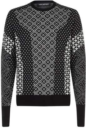 Neil Barrett Mixed Pattern Knitted Sweater
