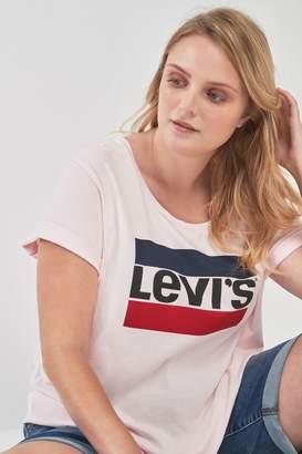Levi's Womens Plus Pink Rose Sports Logo Perfect T-Shirt - Pink