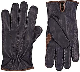 Barneys New York MEN'S NAVY DEERSKIN GLOVES