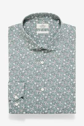 Mens Green Floral Print Slim Fit Single Cuff Cotton Stretch Shirt - Green