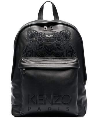 Kenzo black tiger logo embroidered leather backpack