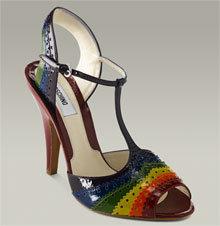 Moschino Rainbow T-Strap Peep Toe Sandal