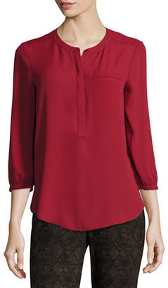 NYDJ Pleated-Back Chiffon Blouse $88 thestylecure.com