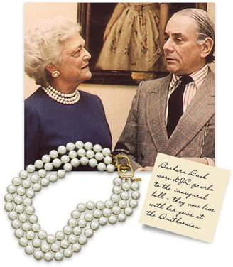 Kenneth Jay Lane 3 Row Pearl Necklace With Gold Clasp