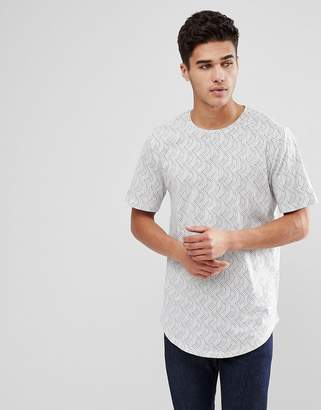 ONLY & SONS Longline T-Shirt With All Over Print