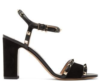 Valentino Rockstud block-heel suede sandals