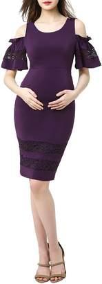 Kimi and Kai Marissa Cold Shoulder Maternity Sheath Dress