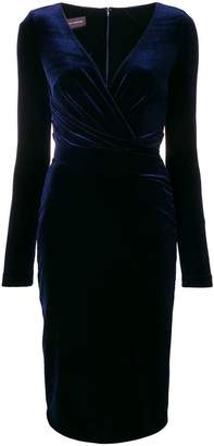 Talbot Runhof stretch velvet fitted dress