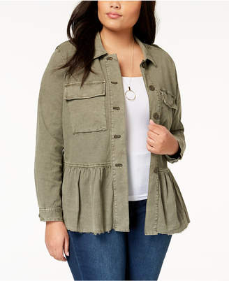 Lucky Brand Trendy Plus Size Peplum Utility Jacket