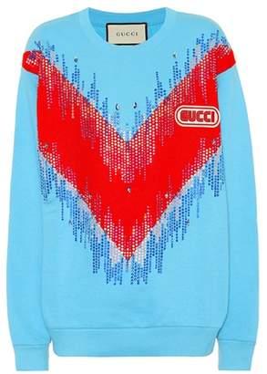 Gucci Embellished cotton sweatshirt
