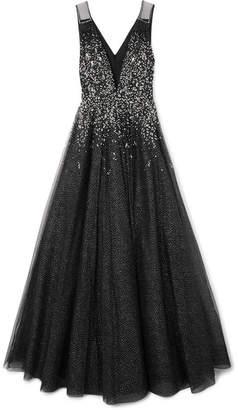 Jenny Packham Samar Crystal-embellished Glittered Tulle Gown - Black