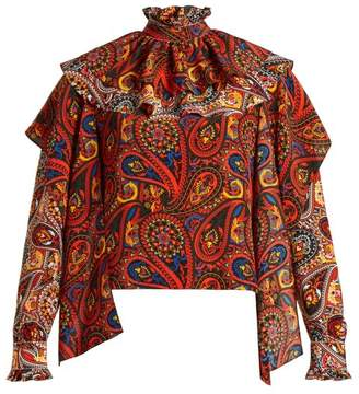 J.W.Anderson Paisley Print Ruffle Trim Silk Blouse - Womens - Brown Multi